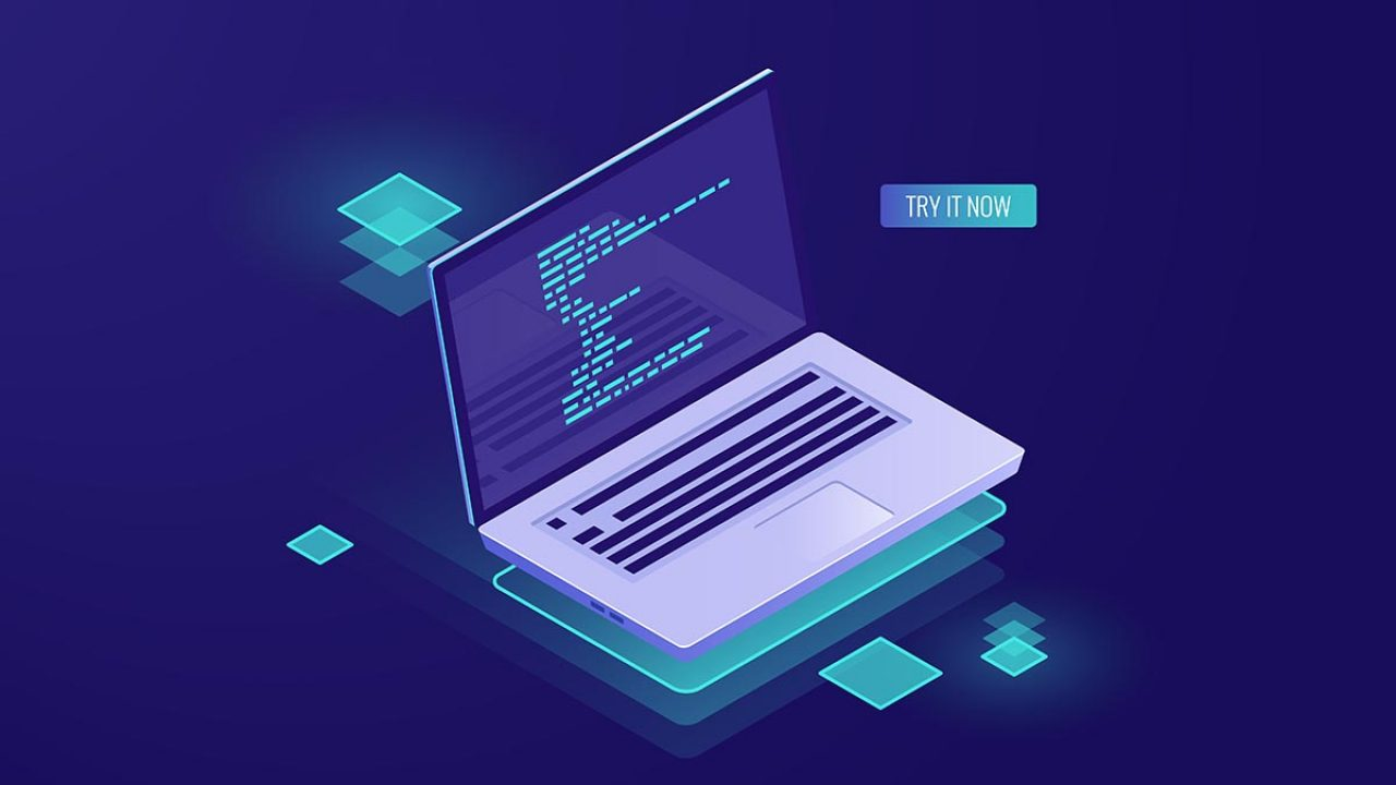 Program code on laptop screen isometric vector, office work, software development and data statistic and analysis, dark neon illustration